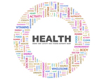 Health logo with colorful word art circle
