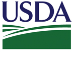 USDA in blue text with green swishes underneath